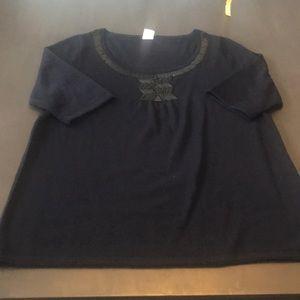 J. Crew navy sweater, black seed beads. Medium